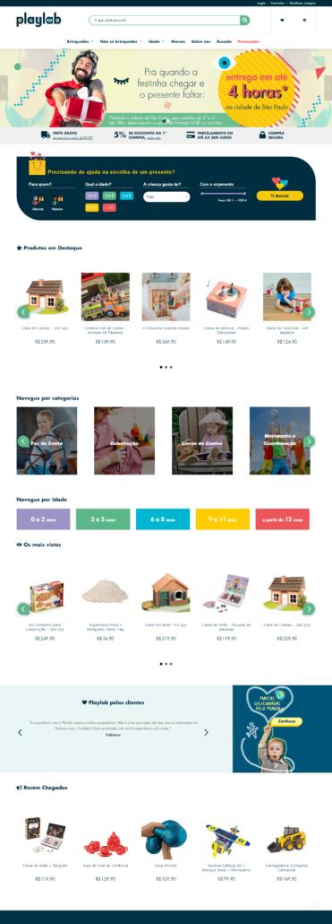 Tipos de site: e-commerce da PlayLab, produzido pela InCuca